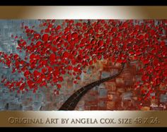 Original Modern Blue Tree Acrylic Impasto Palette by angelacoxart