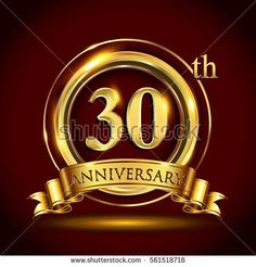 30th golden anniversary logo, thirty years birthday celebration with gold ring and golden ribbon.