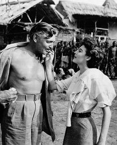Clark Gable and Ava Gardner on the set of Mogambo, 1953.