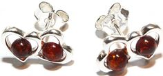 Love Amber X Double Cognac Baltic Amber Silver Hearts Stud Earrings