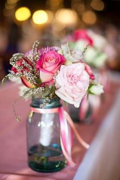 Gorgeous pink flower centrepieces