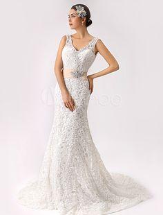 2015 Trumpet V-neck Lace Wedding Dress with Open Back - Milanoo.com