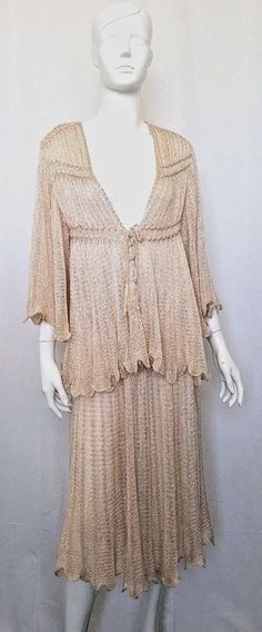 MARY FARRIN LONDON Iconic Vintage '70 Silk & Cashmere Two Piece Hand Knit Dress.
