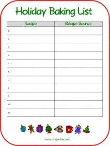 Holiday Baking List {Free Printable}