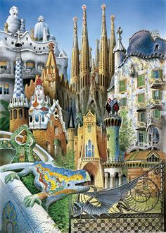 Collage Gaudi, minipuzzel van het merk Educa.