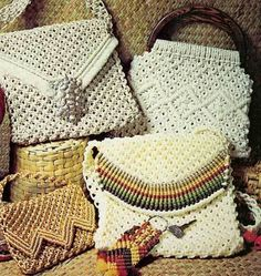 Macrame purse patterns, clutch, handbag, purses