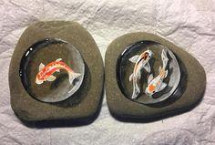 Koi fish rock paintings