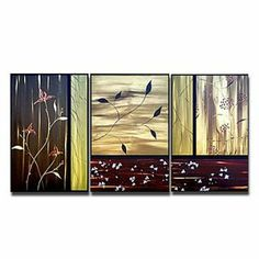Hand-painted Floral Oil Painting - Set of 3 - Free Shipping