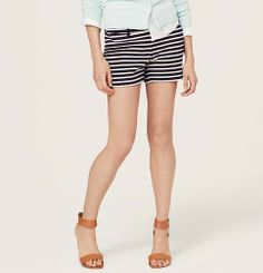 Striped Knit Riviera Shorts With 4 Inch Inseam
