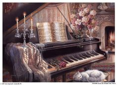 """""""Sonata by Firelight"""" by Judith Gibson. My dad bought me this picture as a present when I young because I played the piano and my cat was white. I wanted to hang it up in my house, but it's now ruined because my old cat peed on it :( sad."""