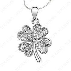 Lovely gift 18K white Gold Plated clear Swarovski Crystal Four Leaf Clover Necklace N029W1