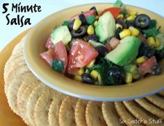 5 Minute Black Bean and Corn Salsa.  Delicious and healthy!    This salsa really only takes 5 minutes to make and it is delicious! Not to mention, good for you! I found this in an old cookbook and changed it around to my liking. You could use chips, but I used low fat, whole wheat crackers, and it was super yummy!      Salsa:  1 can black beans- rinsed and drained  1 can corn, drained  1 can olives, sliced  1 bunch green onions, minced  1 bunch cilantro, chopped  2 tomatoes, chopped  2…