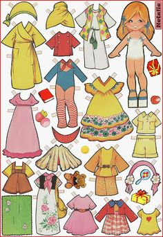 Paper dolls by Maria Pascual Cardboard Paper, Paper Toys, Paper Crafts, Paper Dolls Printable, Dress Up Dolls, Paper Houses, Vintage Paper Dolls, Sweet Memories, Doll Toys
