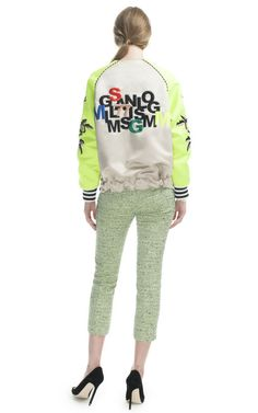 Embroidered Duchesse Bomber by MSGM for Preorder on Moda Operandi