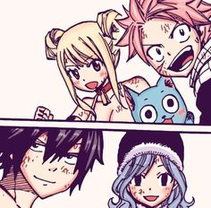 Lucy, Happy, Natsu, Gray and Juvia || Fairy Tail-aka Nalu and Gruvia