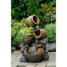 "23.6"" Three-Tiered Clay Look Pots Outdoor Patio Garden Water Fountain with Planter"