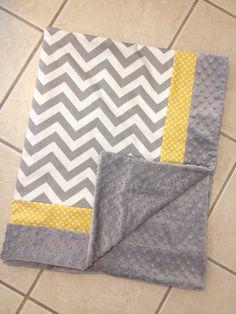 Baby blanket grey chevron with yellow dot by Briteshasblankets, $54.99
