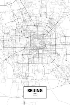 Beijing, China poster - Routelines: detailed posters and prints of cities and their roads City Map Poster, Poster Wall, Urban Fabric, Architecture Drawings, Landscape Architecture, Map Design, Signage Design, City Maps, Plans