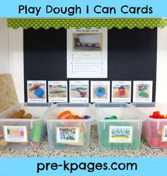 FREE printable Play Dough I Can Task Cards for preschool and kindergarten via…