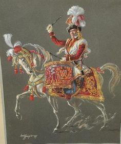Louis FREGIER (1929-2014): « Timbalier des lanciers polonais ». Renaissance, War Drums, Second Empire, Napoleonic Wars, British Army, History, Polish, Illustration, Drummers