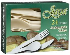 Jaya Biodegradable Cutlery (Spoons, Forks, Knives), 24-Count Packages (Pack of 24) (Health and Beauty)