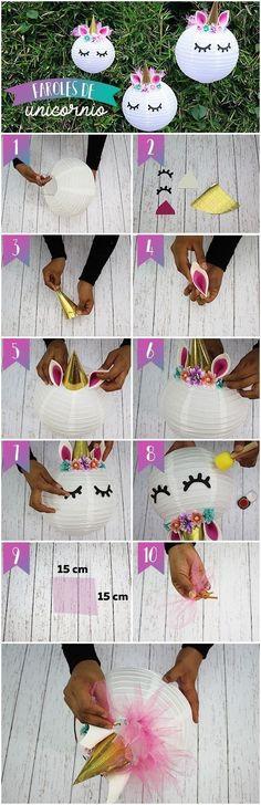 DIY unicorn paper lantern #party #decor