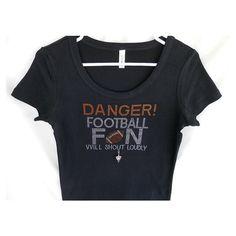 Rhinestone Orange Danger Football Fan Denver Broncos Black T-Shirt... ($28) ❤ liked on Polyvore featuring tops, t-shirts, black, women's clothing, pattern t shirts, relax t shirt, orange t shirt, orange shirt and crew neck t shirt