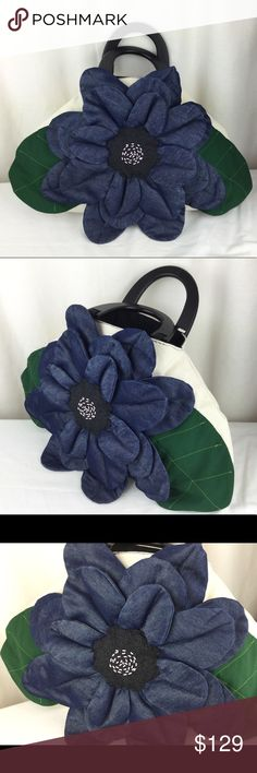 """HandMade OOAK 3D big denim flower canvas bag ✅one of a kind OOAK item  ✅ made with thick heavy strong canvas fabric  ✅big 3D shiny denim flower in the middle   ✅ black hard wood handle  ✅ size is bottom 18"""" ,top 9"""" x 12"""" x 4""""  ✅bag is beige color  This is really one of kind bag. Limited 1/1 .  I made it myself  HandMade OOAK Bags Totes"""