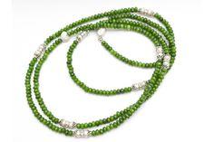 Colier handmade Jad si Perle de cultura cu elemente si inchizatoare din Argint 925