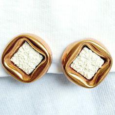 Renoir Matisse Mid-Century Copper Earrings: White Sugar-Style Enamel
