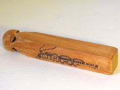 """Vintage Hand Carved Toy Train Wood Wooden Whistle Large 9"""""""