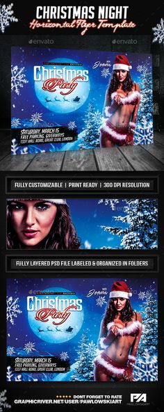 Christmas Night Party Horizontal Flyer Template - Holidays Events