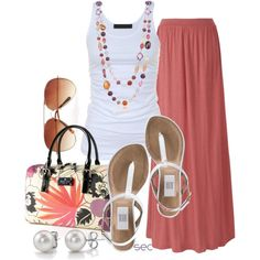 Coral Maxi Skirt. Love! Add a little shrug or a denim jacket or something and it would be perfectly modest. :)