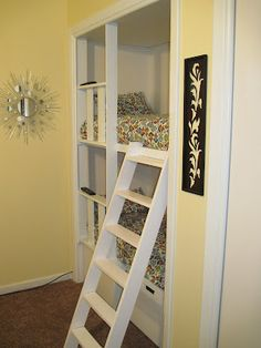 Bunk beds in the closet! If I ever have too much closet space, this would be a neat idea.