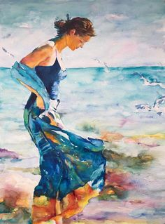 "Woman in Blue by the Sea"". Watercolor. 63 x 83 cm. Inspired by a painting by Mikhail and Inessa Garmash"