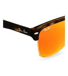 RAY-BAN Matte square havana sunglasses with orange tinted lenses RB4175 57 (Matte+havana