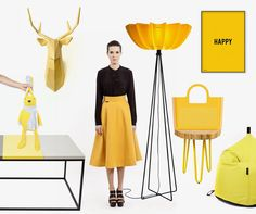 Yellow is the trendest color this fall. Not only in outerwear, but also in design. #yellow #pouffe #fall #trends