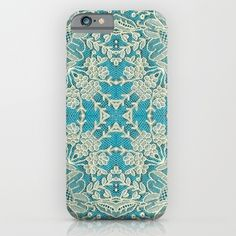 floral lace on blue iPhone & iPod Case