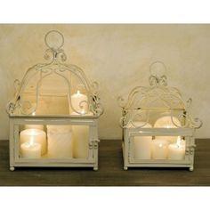 Set 2 lanterne in ferro avorio e vetro