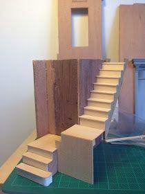 Architecture of Tiny Distinction: A Tiny Staircase Tutorial Modern Dollhouse, Diy Dollhouse, Dollhouse Furniture, Dollhouse Miniatures, Barbie Miniatures, Dollhouse Staircase, Fairy Houses, Doll Houses, Barbie Furniture Tutorial