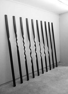 John Cornu | Sans titre (Verticales), 2012 / Bois, peinture acrylique et cirage