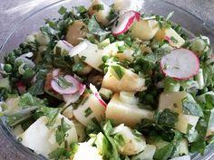 NATURLIGVIS-mad: Grøn kartoffelsalat med rucola eller mælkebøttebla...