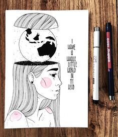 "1,666 Me gusta, 31 comentarios - artist. (@dinasaurus.art) en Instagram: ""Inktober 3/31: ""I have a whole little world in my head"" Sometimes I do stuff where I think…"""