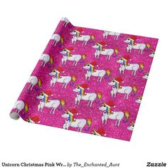 Wrap up your girl's gifts in this cute christmas unicorn wrapping paper! This magical paper will be a gift onto itself! Unique Wrapping Paper, Pink Wrapping Paper, Wrapping Paper Design, Gift Wrapping, Christmas Unicorn, Pink Christmas, Christmas Wrapping, Glitter Gifts, Pink Glitter