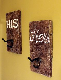 Rustic+Towel+Hooks++His+&+Hers++Reclaimed+by+offthewallpainting,+$42.00