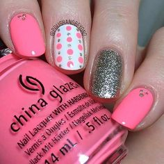 Easy Neon Pink Nail Design for Summer