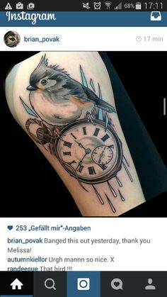I love my New Tattoo from Brian Povak, neo traditional, uhr, clock, bird, #brianpovak