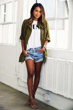 casual: military jacket, t-shirt, cuffed denim shorts