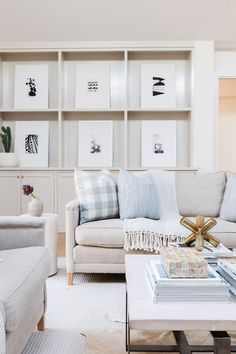 Built in Shelves Living Room | Neutral Living Room Décor | Living Room Art Wall | Living Room Art Ideas