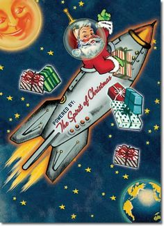 Retro Christmas Cards Space Age Santa set of 8 by whatsbuzzin* 1500 free paper dolls at Arielle Gabriel's International Paper Doll Society for Pinterest paper doll pals *